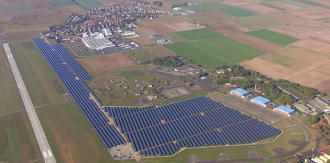 A power plant at air airfield in Germany with high-power and high-efficiency REC solar panels enabling utilities to improve return on investment