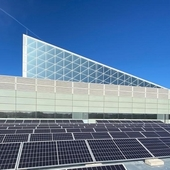 REC Alpha solar panels installed on rooftop of Telefónica Control Hub in Madrid