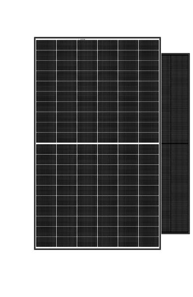 Portraits of two 60-cell format REC Alpha solar panels, including full-black variant