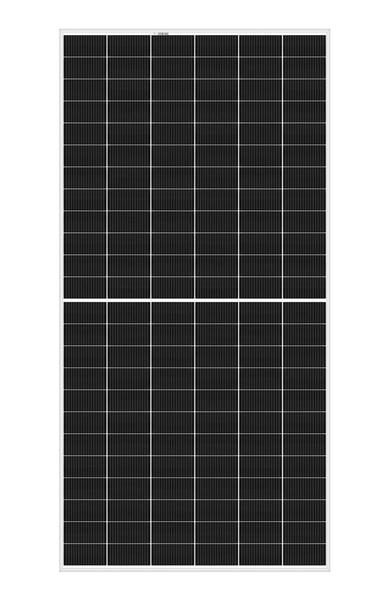 Portrait of REC Alpha 72 solar panel with 144 half-cut cells