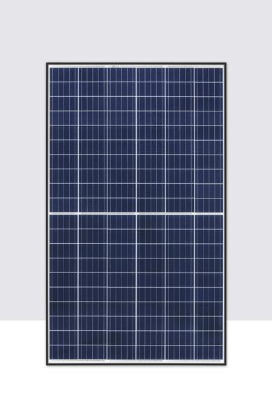 Portrait of 60-cell format REC TwinPeak 2 solar panel with black frame and 120 half-cut cells